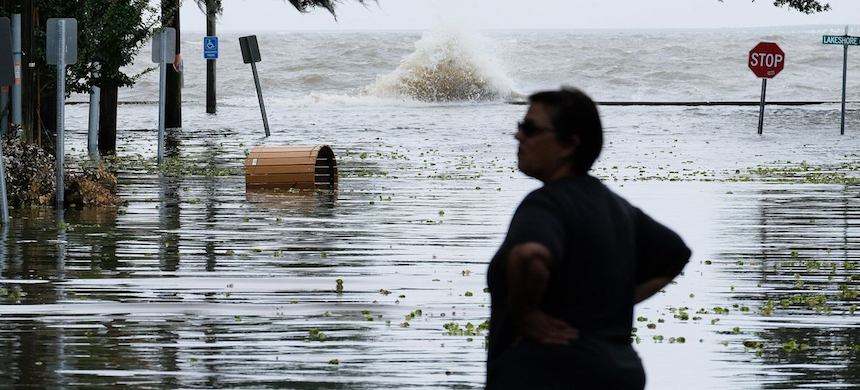 Lake Pontchartrain overflowed as Barry approached Mandeville, Louisiana, Saturday. (photo: WSJ)
