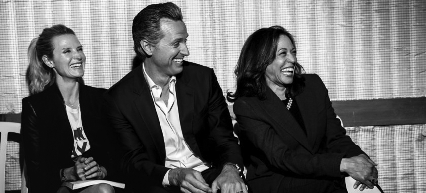 California's governor Gavin Newsom and Sen. Kamala Harris with Jennifer Siebel Newsom at an event in 2018. (photo: Jay L. Clendenin/Los Angeles Times)