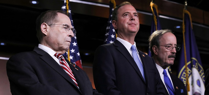Democratic Reps. Jerrold Nadler (N.Y.), Adam Schiff (Calif.) and Eliot Engel (N.Y.) at a news conference on June 11, 2019. (photo: Jonathan Ernst/Reuters)
