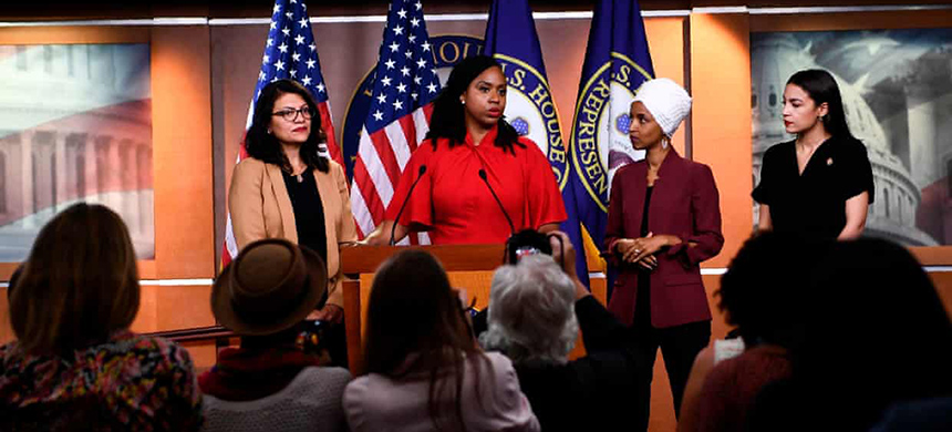 The four congresswomen sometimes refer to themselves as 'the Squad.' (photo: Brendan Smialowski/AFP/Getty Images)