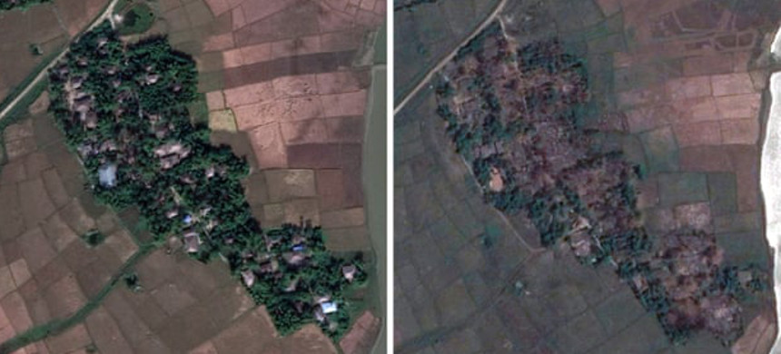 The village of Maw in Rohingya in 2017 (left). In the righthand image taken in 2018 the scale of the destruction can be clearly seen. (photo: ASPI)