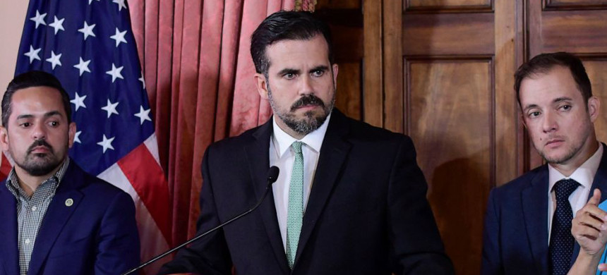Puerto Rico gov. Rossello announced he would step down. (photo: Carlos Giusti/AP)