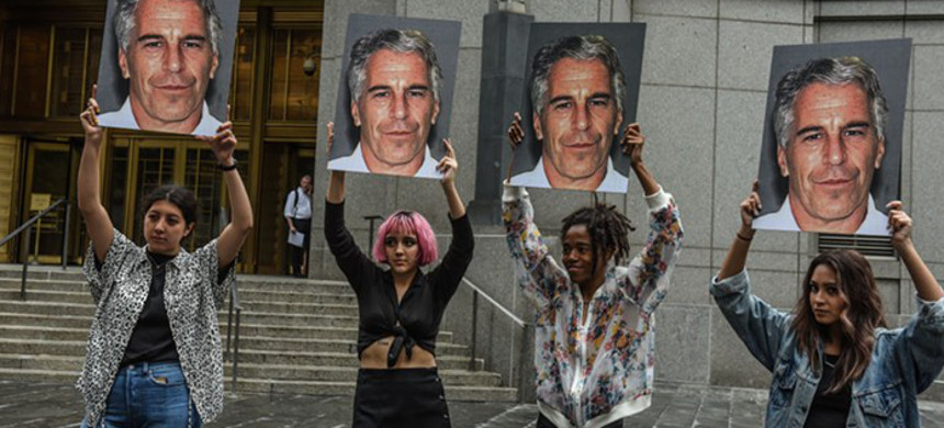 Protesters demonstrate against criminal sex offender and alleged sex trafficker Jeffery Epstein in New York City. (photo: Stephane Keith/Getty Images)