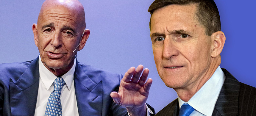 Tom Barrack and Michael Flynn. (image: Getty Images/Daily Beast)