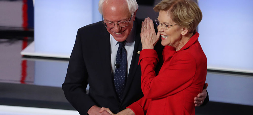 Bernie Sanders and Elizabeth Warren. (photo: Justin Sullivan/Getty Images)