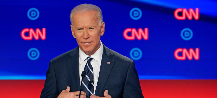 Joe Biden at the debate on Wednesday. (photo: Erin Schaff/The New York Times)
