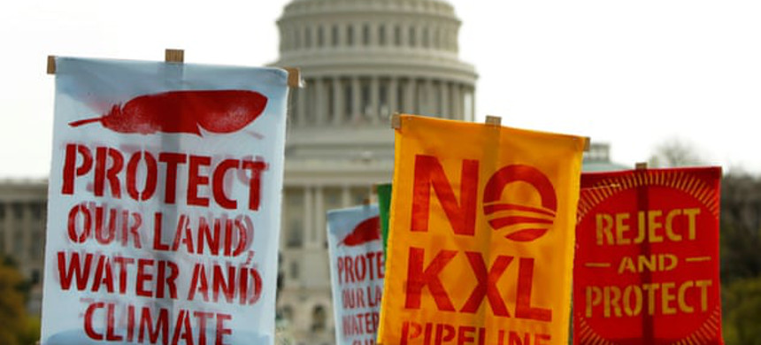Activists protest against the Keystone XL pipeline in front of the U.S. Capitol in Washington, 22 April 2014. There has been an uptick in civil disobedience and direct actions challenging fossil fuel infrastructure projects. (photo: Gary Cameron/Reuters)