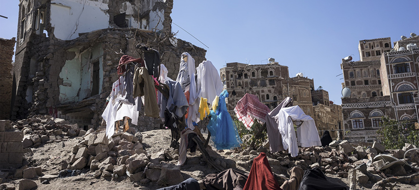 The home of a vegetable seller, his wife, and their eight children 14 months after the Saudi-led coalition bombarded the Al-Fulaihi area of the UNESCO World Heritage site in the old city of Sana'a, Yemen, on Dec. 20, 2016. (photo: Amira Al-Sharif; Courtesy Penguin Random House)