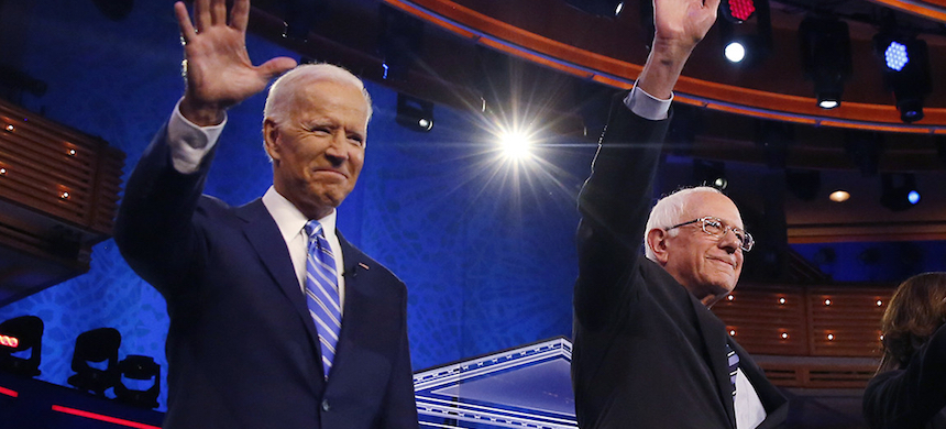 Joe Biden and Bernie Sanders. (photo: Brynn Anderson/AP)