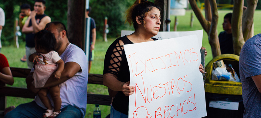 At Farris Municipal Park in Morton, Mississippi, on Tuesday, workers protested layoffs that followed last week's ICE raids. (photo: Henry Grabar)