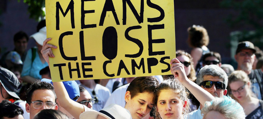 Young Jewish Activists protest against Trump's immigration policies. (photo: Boston Globe)