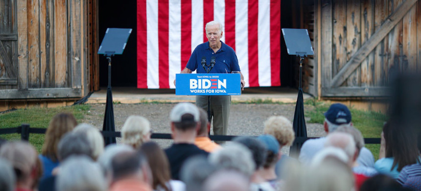 Former vice president Joseph R. Biden Jr. campaigned in Urbandale, Iowa, on Tuesday. Voters repeatedly emphasized that their support for him was closely linked to early polling. (photo: Tom Brenner/The New York Times)