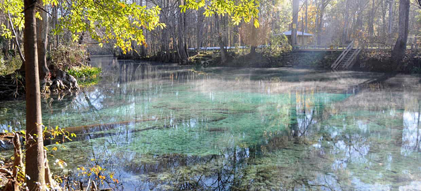Mist rising in the morning off Ginnie Springs. (photo: Susanne Masters)