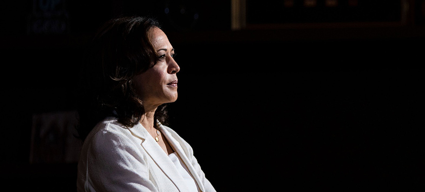 Sen. Kamala Harris speaks during a health care roundtable in Burlington, Iowa, Aug. 12, 2019. (photo: Alex Edelman/AFP/Getty Images)