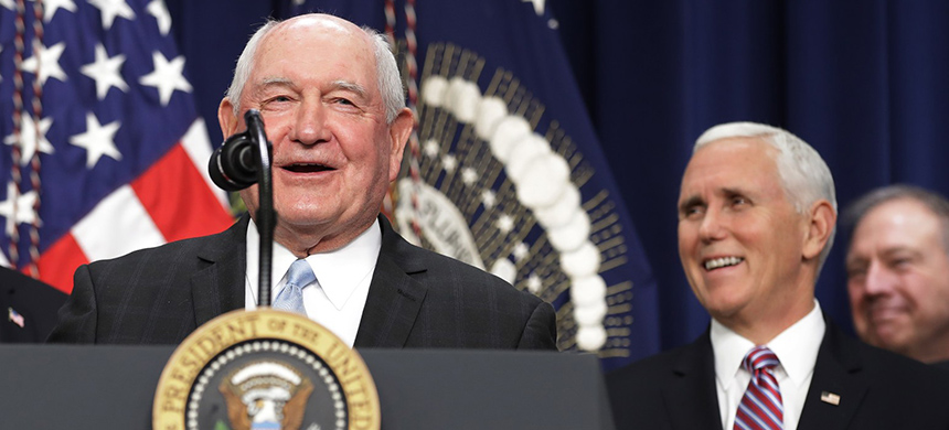 Agriculture secretary Sonny Perdue speaks at the White House. (photo: Chip Somodevilla/Getty Images)