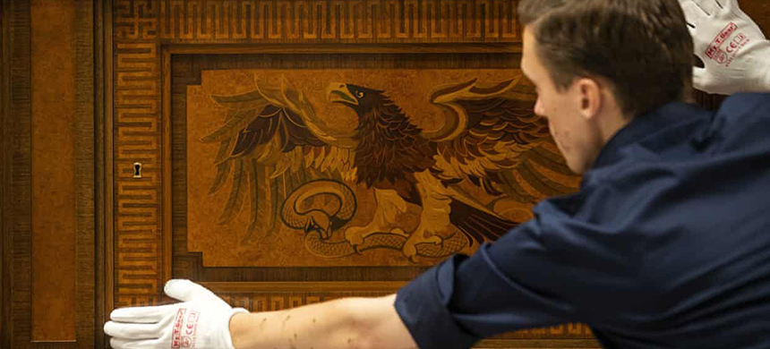 A sideboard once owned by Adolf Hitler goes on display at Den Bosch's Design Museum. (photo: Jeroen Jumelet/EPA)