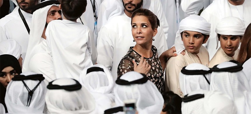 Princess Haya bint al-Hussein, wife of the ruler of Dubai, arrives at Meydan Racecourse in Dubai on March 31, 2018. (photo: Karim Sahib/AFP)