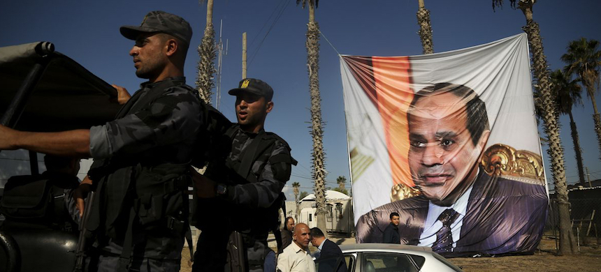 A poster depicting Egypt's President Abdel Fattah al-Sisi. (photo: Majdi Fathi/NurPhoto/Getty Images)