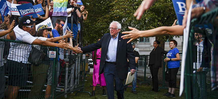 Vermont senator Bernie Sanders shakes hands with supporters at a rally in Denver on Sept. 9. (photo: Michael Ciaglo/Getty Images)