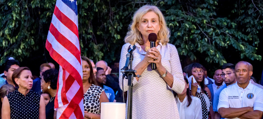Congresswoman Carolyn B. Maloney and other advocates gathered for a candlelight vigil in Prospect Park to mourn the lives lost during recent mass shootings in Brownsville, Dayton, El Paso. (photo: Erik McGregor/Pacific Press/LightRocket/Getty)