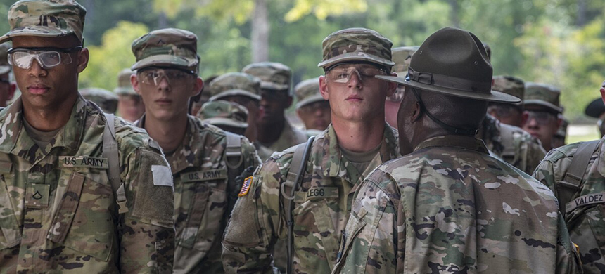 New soldiers arriving for their first day of basic combat training at Fort Jackson, S.C., are 'welcomed' by drill sergeants from both the Army and Army Reserve. (photo: Sgt. 1st Class Brian Hamilton/Army)