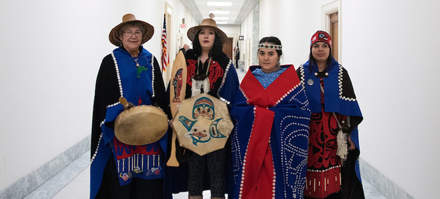 The WECAN Indigenous Women's Tongass Delegation on Capitol Hill, Washington, D.C.  (photo: Melissa Lyttle/Grist)