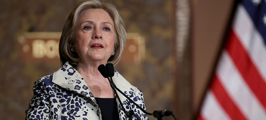 Former secretary of state Hillary Clinton speaks at Georgetown University on Friday. (photo: Win Mcnamee/Getty Images)