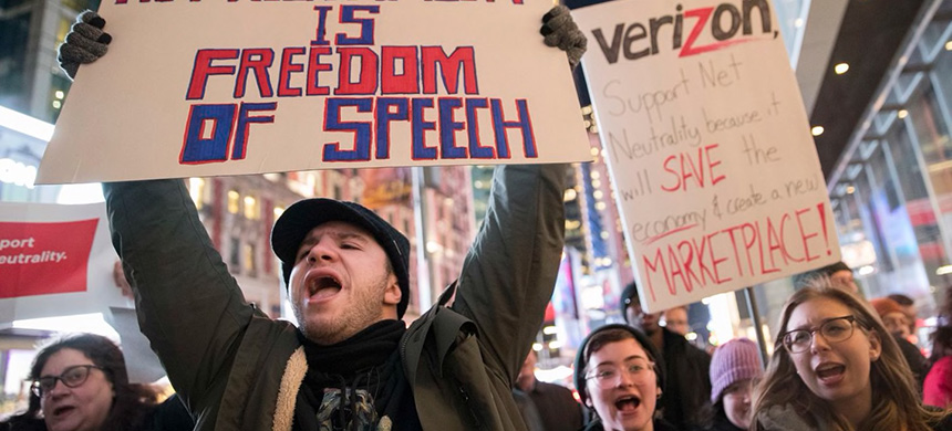 The FCC's cancellation of Obama-era rules on net neutrality sparked demonstrations in 2017. (photo: Mary Altaffer/AP)