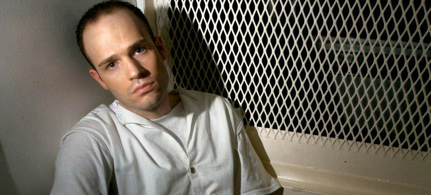 Randy Halprin in visitation cell on death row won an appeal days before he was due to be executed as judge's 'racism' came to light (photo: Brett Coomer/AP)