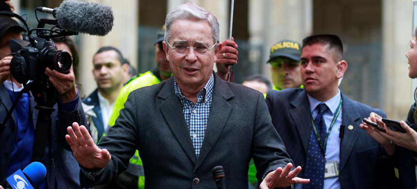 Former far-right Colombian president and senator Alvaro Uribe (photo: John Vizcaino/Reuters)