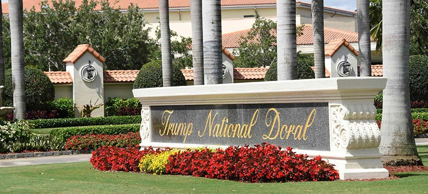 President Trump faced criticism that the choice of the Trump National Doral near Miami would enrich his family business. (photo: Michele Eve Sandberg/AFP/Getty Images)