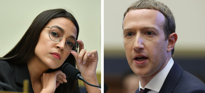 Rep. Acasio-Cortez and Facebook CEO Mark Zuckerberg. (photo: CMandel Ngan/Chip Somodevilla/AFP/Getty)