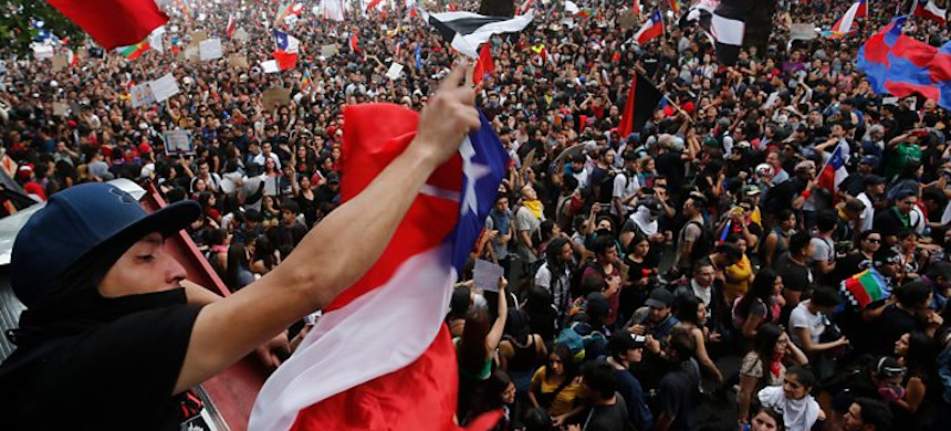Chile's 'historic' protest march from above. (photo: BBC)