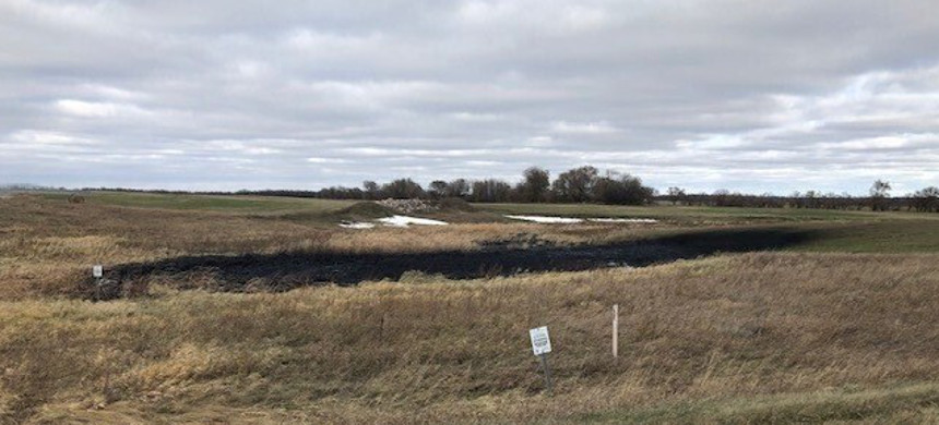 This Wednesday, Oct. 30, 2019 photo, provided by the North Dakota Department of Environmental Quality, shows affected land from a Keystone oil pipeline leak near Edinburg, North Dakota. (photo: Taylor DeVries/North Dakota Department of Environmental Quality)