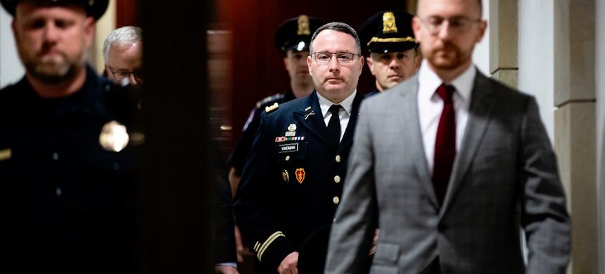 Lt. Col. Alexander S. Vindman, the top Ukraine expert on the National Security Council, arrives for a closed-door deposition with House impeachment investigators on Tuesday. (photo: Anna Moneymaker/NYT)