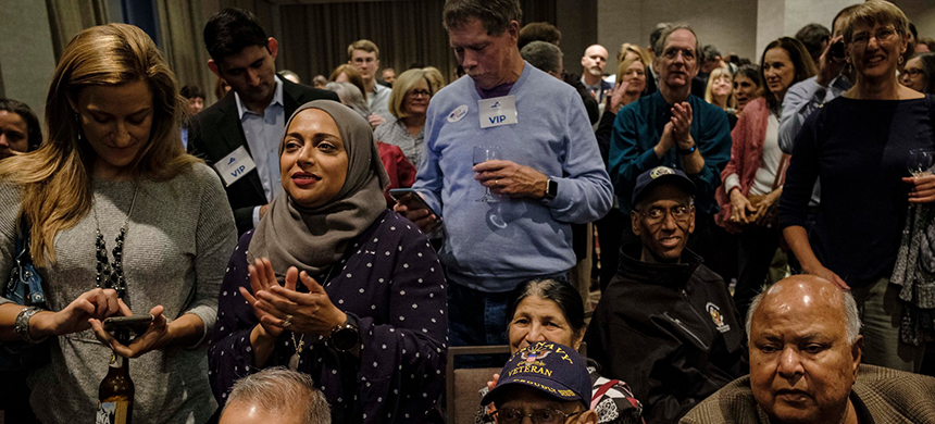 Democrats celebrated winning control of the Virginia legislature at a party in Richmond on Tuesday. (photo: Carlos Bernate/NYT)