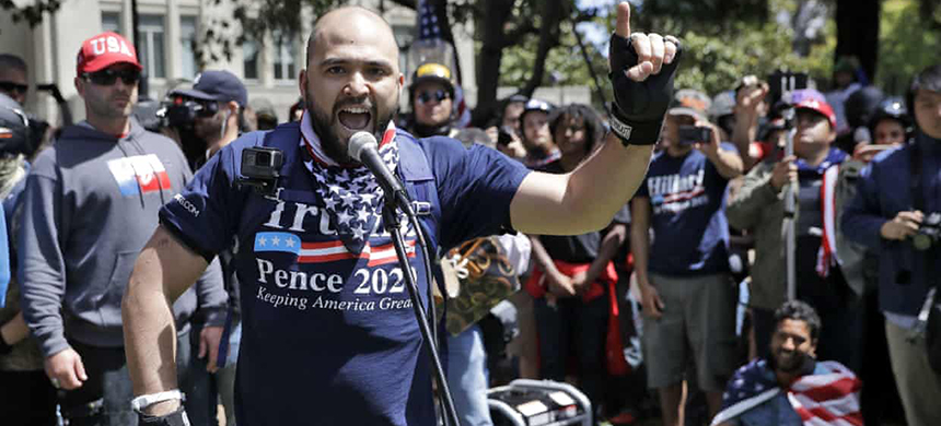 Rightwing group Patriot Prayer leader Joey Gibson speaks during a rally in support of free speech in Berkeley, California, in April 2017. (photo: Marcio Jose Sanchez/AP)