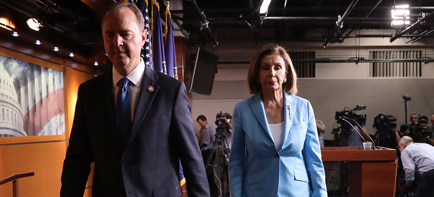 Speaker of the House Nancy Pelosi, D-Calif., and Rep. Adam Schiff, D-Calif., depart a press conference at the Capitol on Oct. 2. (photo: Win McNamee/Getty Images)