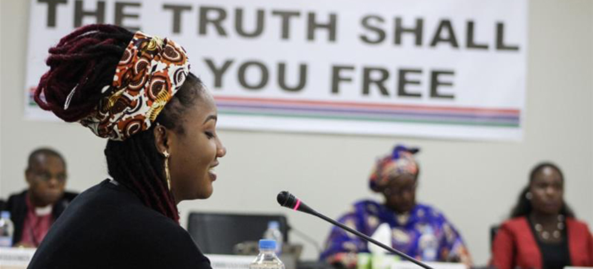 Fatou Jallow, known as Toufah, says she was raped by former Gambian leader Yahya Jammeh after he noticed her in 2014, when at 19 she won a beauty pageant. (photo: TRRC)