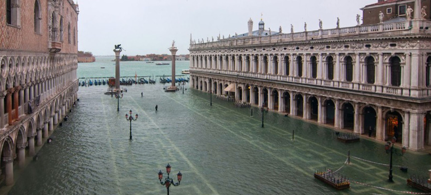 St. Mark's square (Piazza San Marco) during a new exceptional high tide on Nov. 15, in Venice, Italy. (photo: Simone Padovani/Getty)