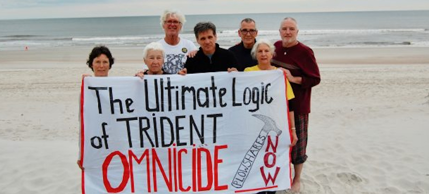 'The jury verdict against the seven Kings Bay Plowshares protestors affirms the US government position that no one has any right to challenge the legality of US freedom to resort to nuclear annihilation.' (photo: The Ithaca Voice)