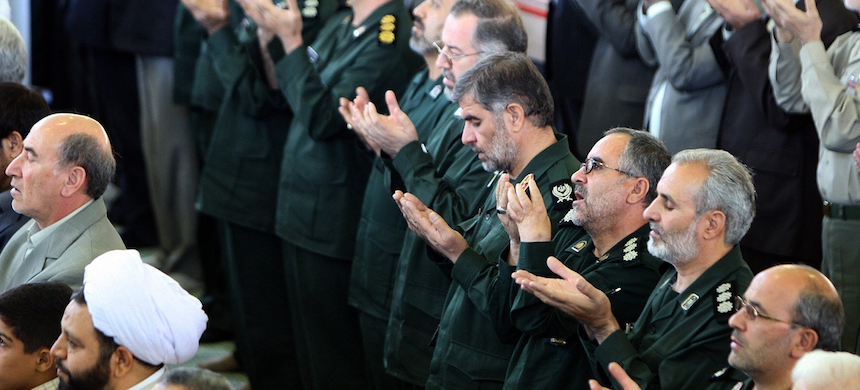 Senior members of Iran's Islamic Revolutionary Guard Corps attend the weekly Friday prayer at Tehran University on Nov. 2, 2007. (photo: Atta Kenare/AFP/Getty Images)