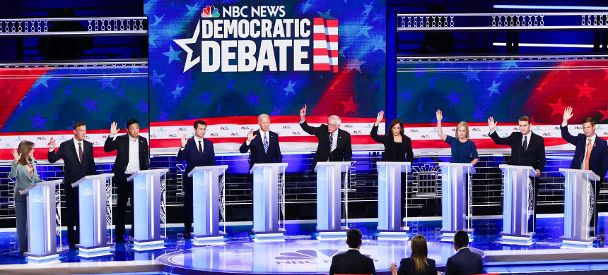 The Democratic primary debate, hosted by NBC News on June 27, 2019. (photo: Wilfredo Lee/AP)