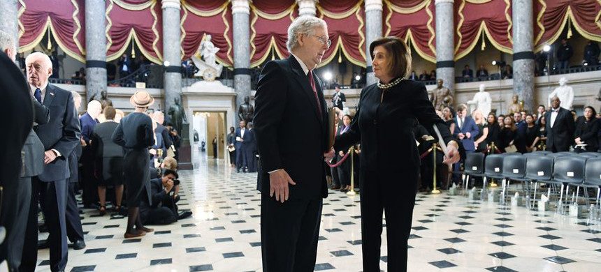 Senate Majority Leader Mitch McConnell (R-KY) and Speaker of the House Nancy Pelosi. (photo: Matt McClain/Getty)