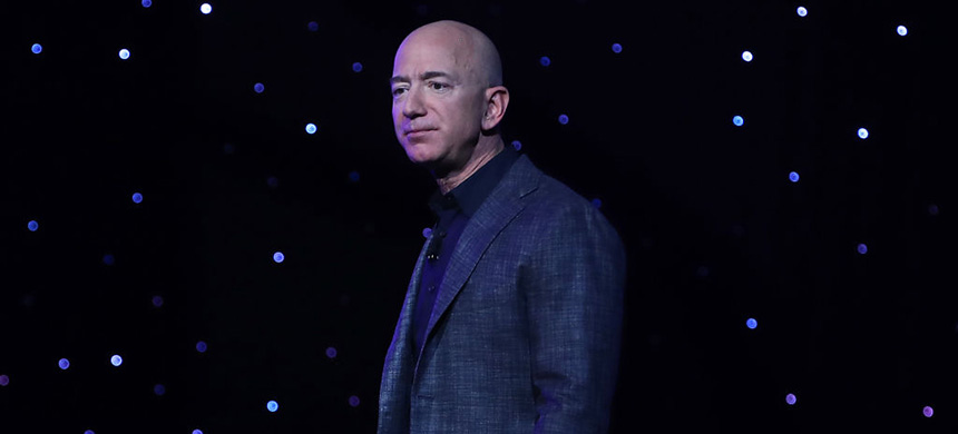 Jeff Bezos, owner of Blue Origin and founder of Amazon, speaks about outer space before unveiling a new lunar landing module called Blue Moon, during an event at the Washington Convention Center, May 9, 2019 in Washington, DC. (photo: Mark Wilson/Getty Images)
