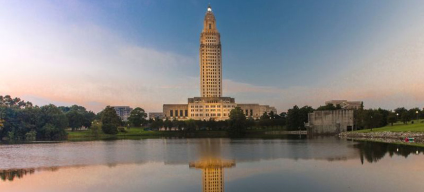 Louisiana State Capitol, Baton Rouge, Louisiana, at dusk. (photo: Getty Images)