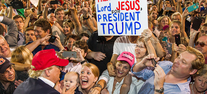 In 2016, Trump garnered over 80 percent of the white evangelical vote. Today, more than half of them believe that God wanted Trump to be president and 99 percent oppose impeachment. (photo: Mark Wallheiser/Getty Images)