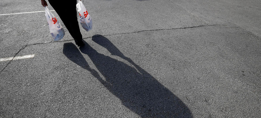 Woman carries groceries. (photo: CBC News)
