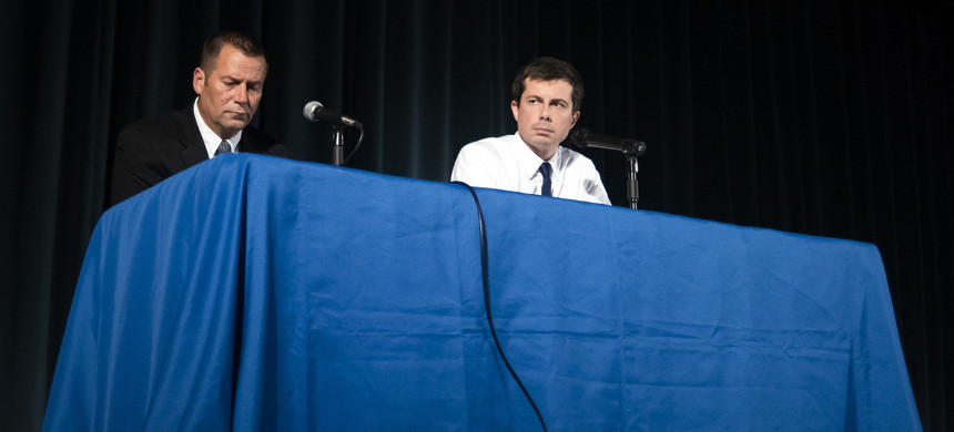 South Bend Police Chief Scott Ruszkowski, left, and Mayor Pete Butti­gieg at a town hall-style event in South Bend, Indiana, June 23, 2019. (photo: Mark Felix/The New York Times)