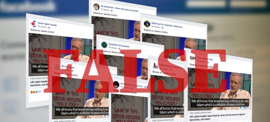 Identical Facebook posts attacking the UK Labour leader, Jeremy Corbyn, across a number of alt-right Facebook accounts. (photo: The Guardian)